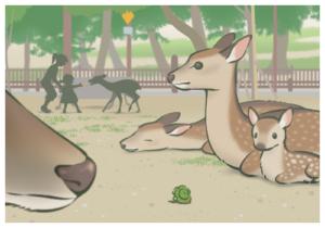 奈良公園でシカさんショット